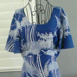 Vintage Tropicana Blue White Hawaiian Mumu Dress